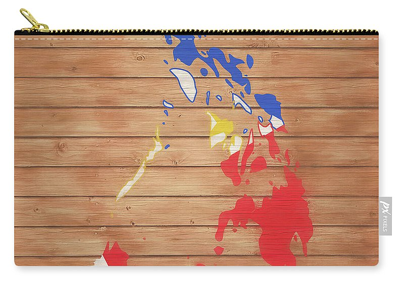 Philippines Rustic Map On Wood Carry-all Pouch featuring the mixed media Philippines Rustic Map On Wood by Dan Sproul