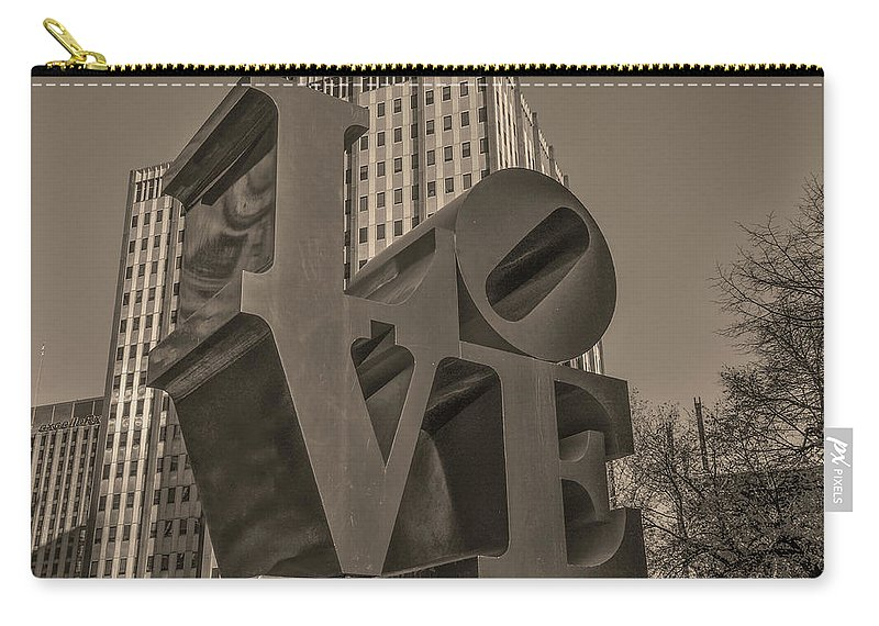 Philly Carry-all Pouch featuring the photograph Philly Esque - Love Statue In Sepia by Bill Cannon