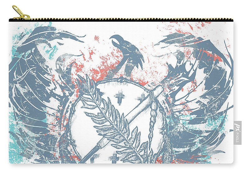 Chadlonius Carry-all Pouch featuring the drawing Phoenix by Chad Lonius
