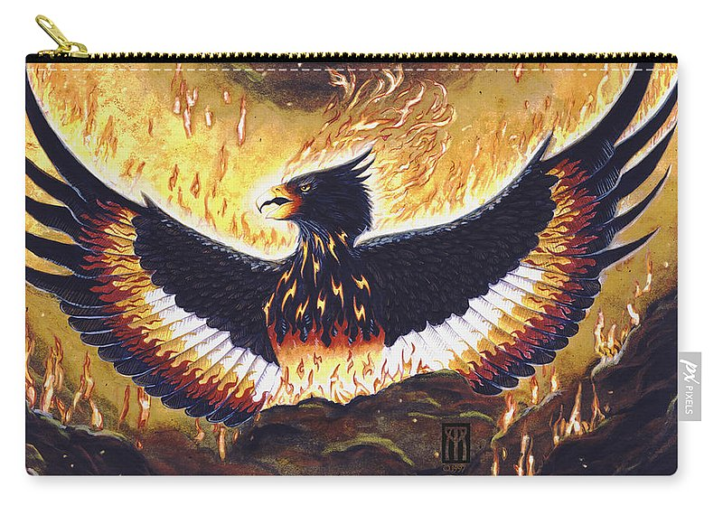 Phoenix Carry-all Pouch featuring the painting Phoenix Rising by Melissa A Benson