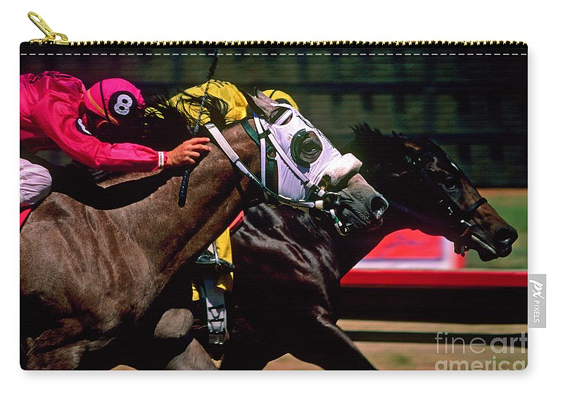 Horse Carry-all Pouch featuring the photograph Photo Finish by Kathy McClure