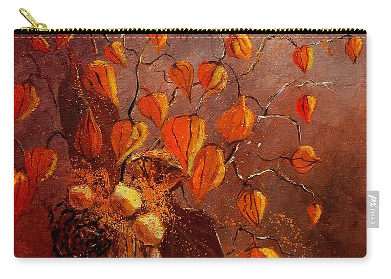 Poppies Carry-all Pouch featuring the painting Physialis by Pol Ledent