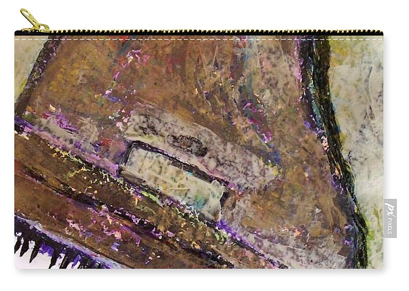 Piano Carry-all Pouch featuring the painting Piano In Bronze by Anita Burgermeister
