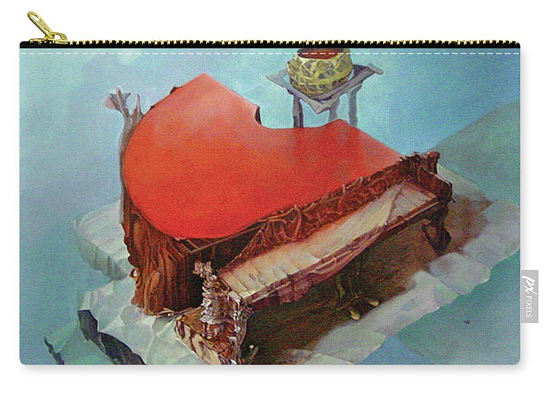 Piano Red Clouds Blue Carry-all Pouch featuring the painting Piano In Red by Viktoras Voronovas