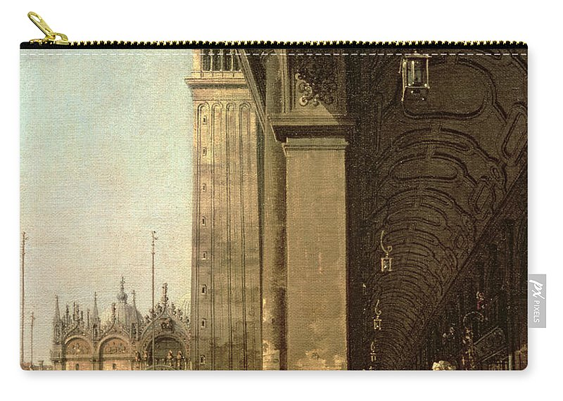 Canaletto Carry-all Pouch featuring the painting Piazza Di San Marco And The Colonnade Of The Procuratie Nuove by Canaletto