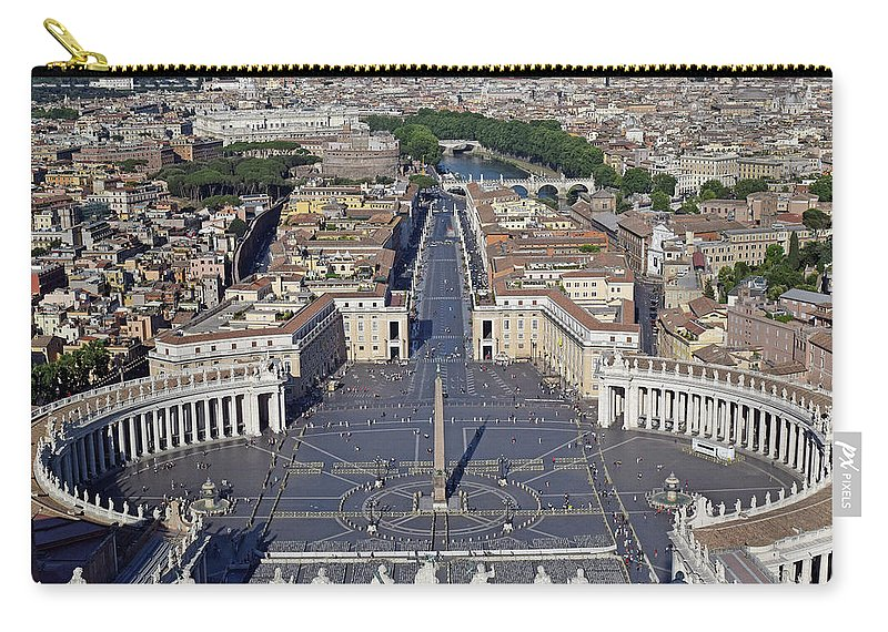 Aerial Carry-all Pouch featuring the photograph Piazza San Pietro And Colonnaded Square As Seen From The Dome Of Saint Peter's Basilica - Rome, Ital by Mihaela Nica