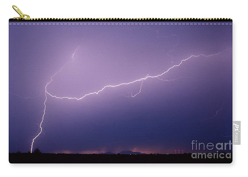 Lightning Carry-all Pouch featuring the photograph Picacho Aerial-signed by J L Woody Wooden