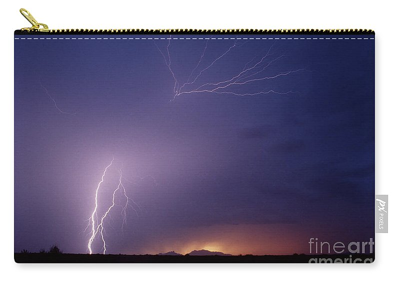 Lightning Carry-all Pouch featuring the photograph Picacho Peak Spider-signed by J L Woody Wooden