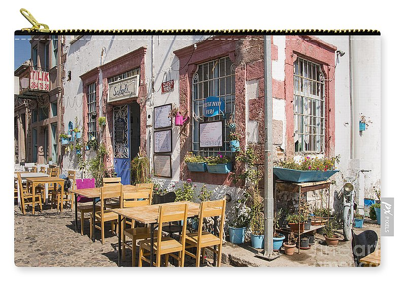 Cunda Island Turkey Building Buildings Structure Structures Architecture City Cities Cityscape Cityscapes Street Streets Window Windows Door Doors Table Tables Chair Chairs Restaurant Restaurants Eatery Eateries Carry-all Pouch featuring the photograph Pick A Table by Bob Phillips