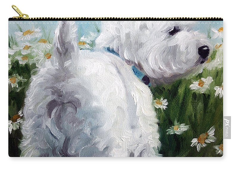 Westie Carry-all Pouch featuring the painting Picking Daisies by Mary Sparrow