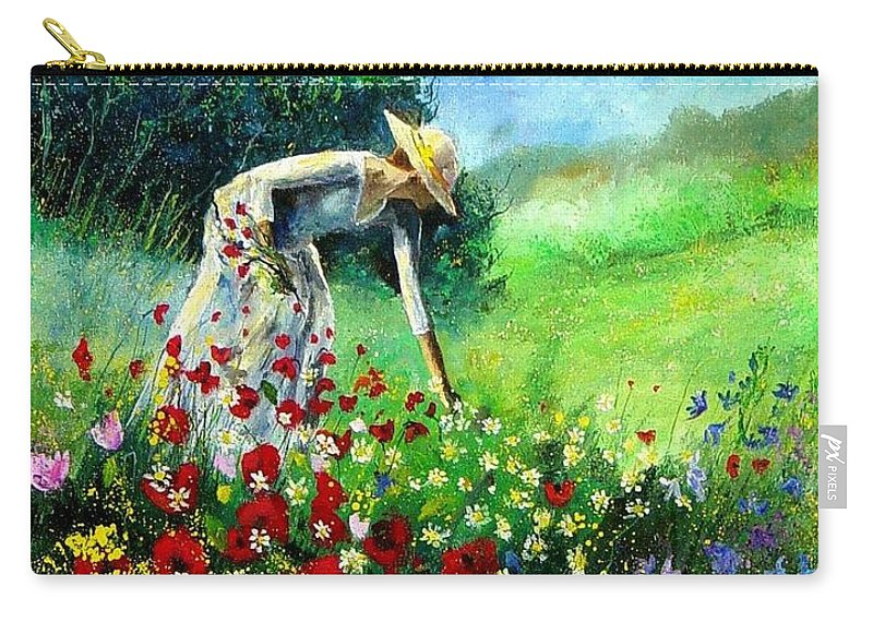 Poppies Carry-all Pouch featuring the painting Picking Flower by Pol Ledent