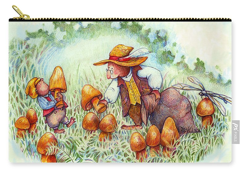 Moles Carry-all Pouch featuring the painting Picking Mushrooms by Peggy Wilson