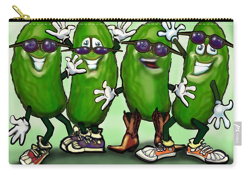 Pickle Carry-all Pouch featuring the digital art Pickle Party by Kevin Middleton
