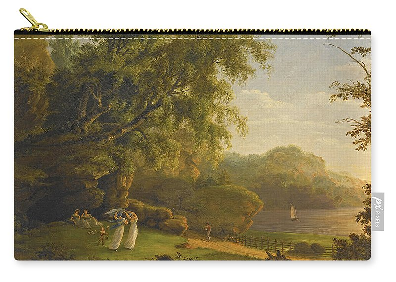 Thomas Birch Carry-all Pouch featuring the painting Picnic By The Lake by Thomas Birch