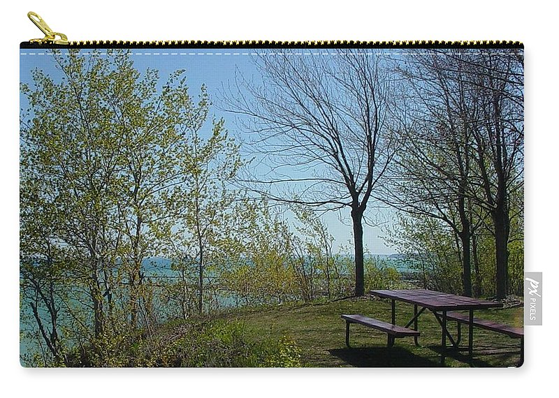 Lake View Carry-all Pouch featuring the photograph Picnic Table By The Lake Photo by Anita Burgermeister