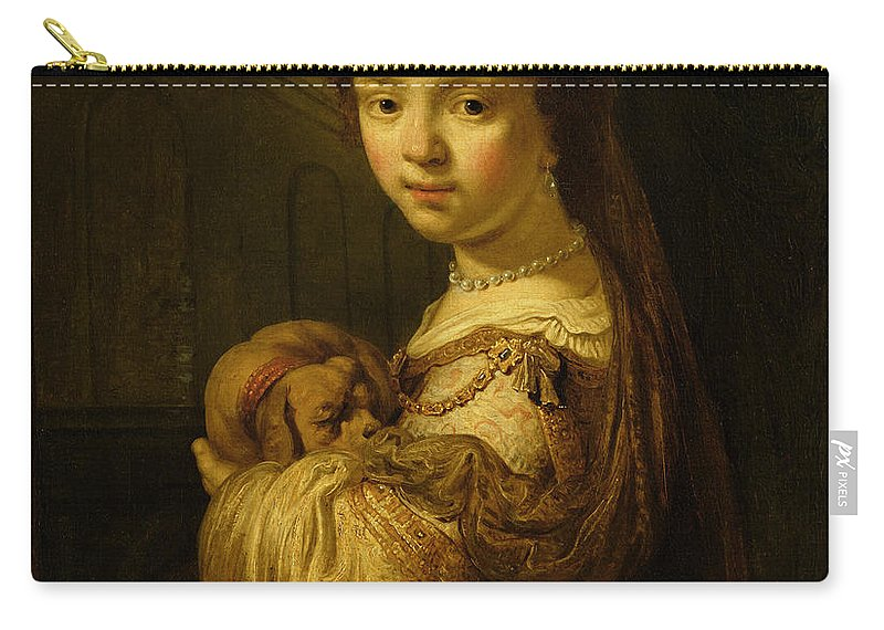 Picture Carry-all Pouch featuring the painting Picture Of A Young Girl by Govaert Flinck