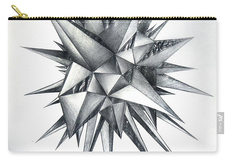 Spikes Carry-all Pouch featuring the drawing Piece Of World Turned Into Spiked Ball by Sofia Metal Queen