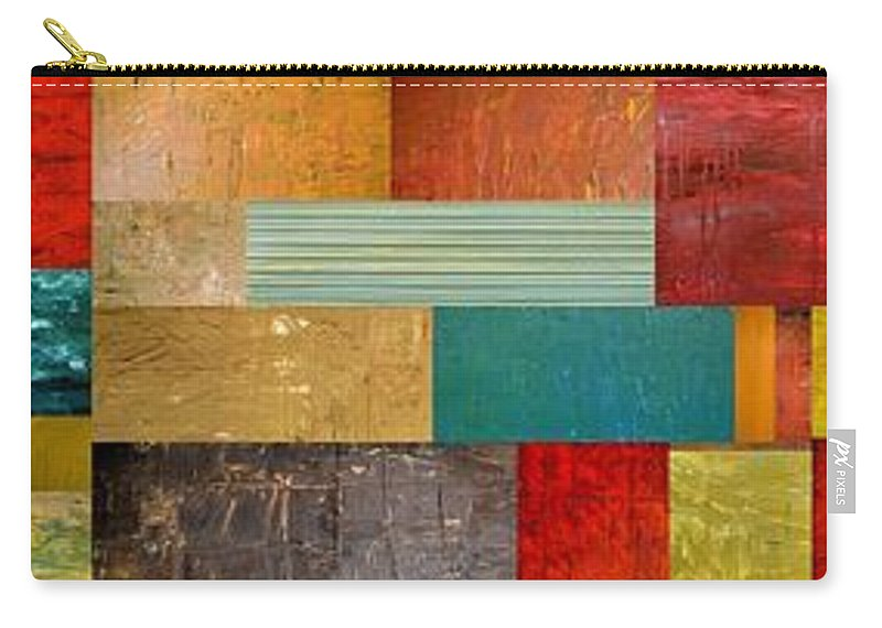 Skinny Carry-all Pouch featuring the painting Pieces Project V by Michelle Calkins