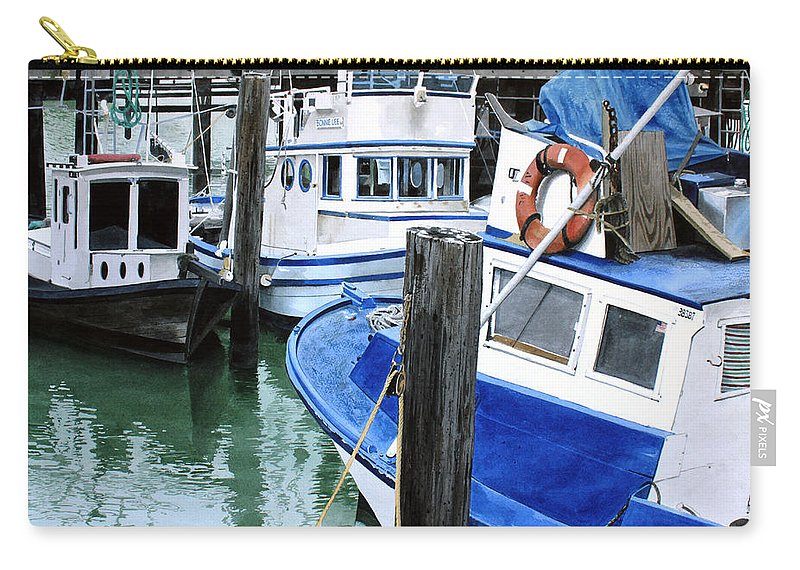 Water Scape Carry-all Pouch featuring the painting Pier 39 by Denny Bond