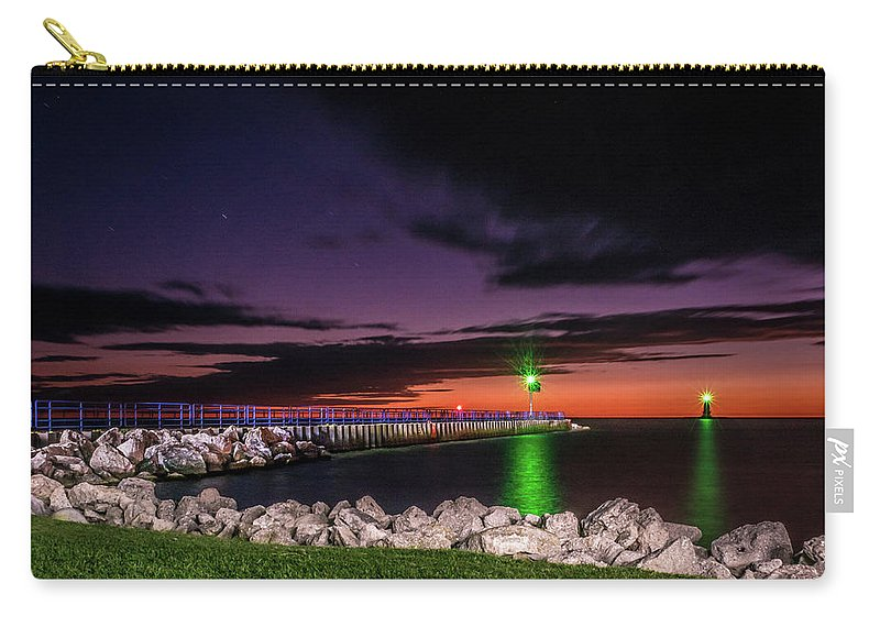 Lake Michigan Carry-all Pouch featuring the photograph Pier And Lighthouse by Lester Plank