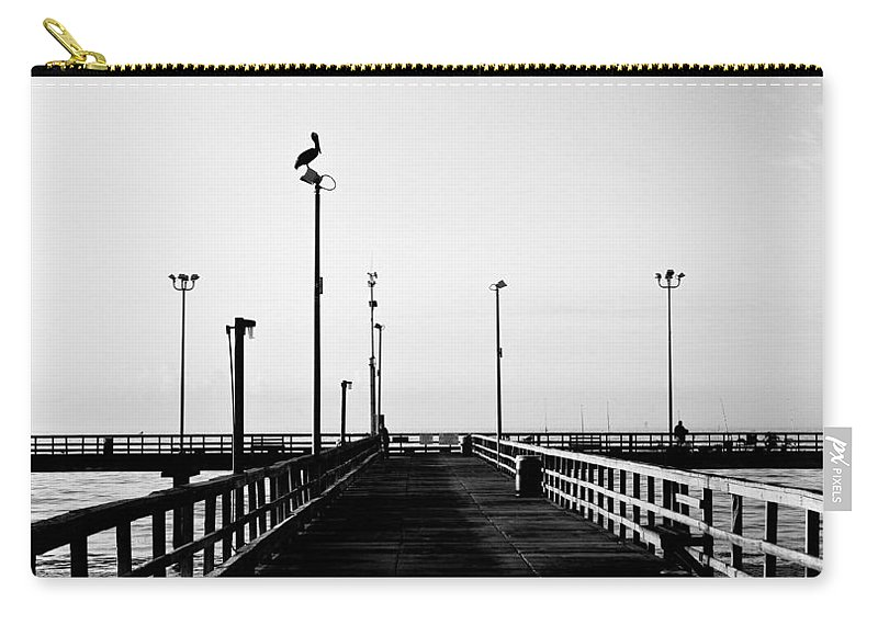 Bird Carry-all Pouch featuring the photograph Pier And Pelican by Marilyn Hunt