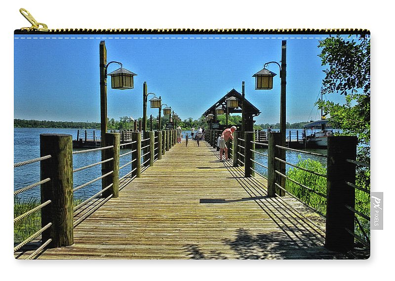 Pier Carry-all Pouch featuring the photograph Pier at Fort Wilderness PM by Thomas Woolworth