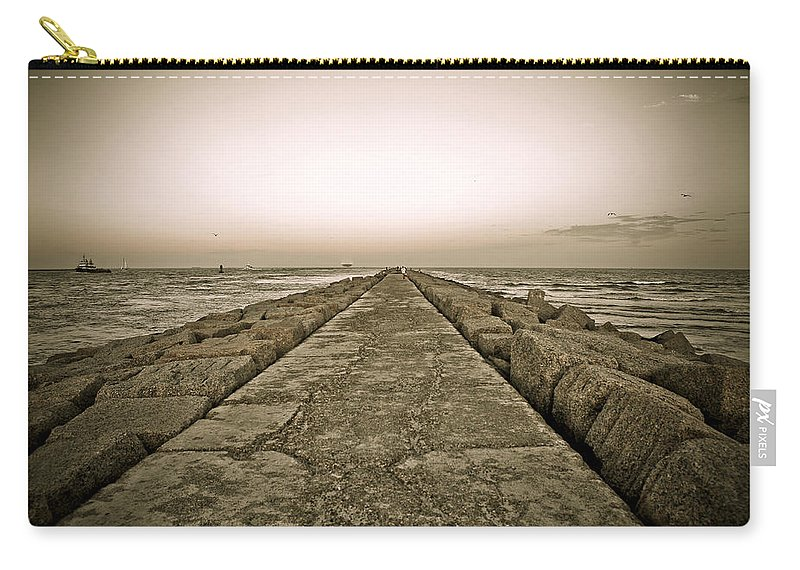 Water Carry-all Pouch featuring the photograph Pier At Sunset by Marilyn Hunt