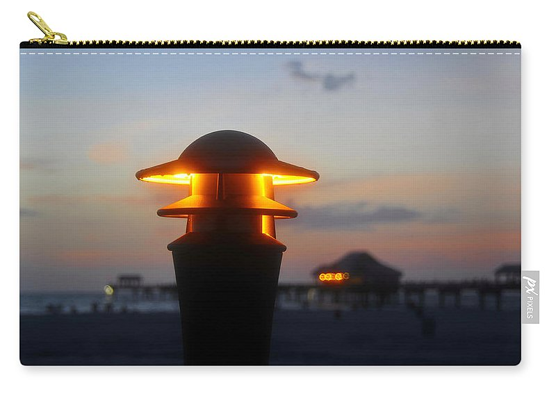 Pier Carry-all Pouch featuring the photograph Pier Lights by David Lee Thompson
