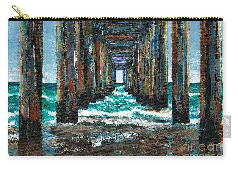 Ocean Carry-all Pouch featuring the painting Pier One by Frances Marino