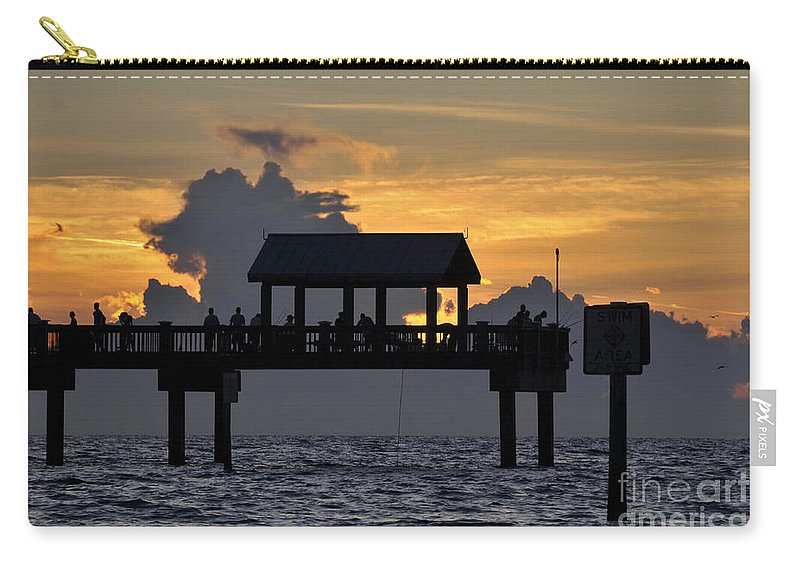 Pier.clearwater Florida Carry-all Pouch featuring the photograph Pier Sunset by David Lee Thompson