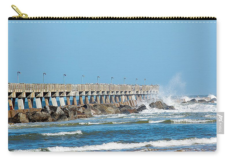 Nature Carry-all Pouch featuring the photograph Pier Surf by Kenneth Albin