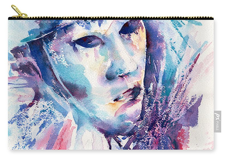 Mask Carry-all Pouch featuring the painting Pieroette by Stephie Butler