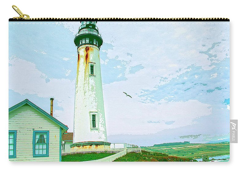 Pigeon Point Carry-all Pouch featuring the mixed media Pigeon Point Lighthouse by Dominic Piperata