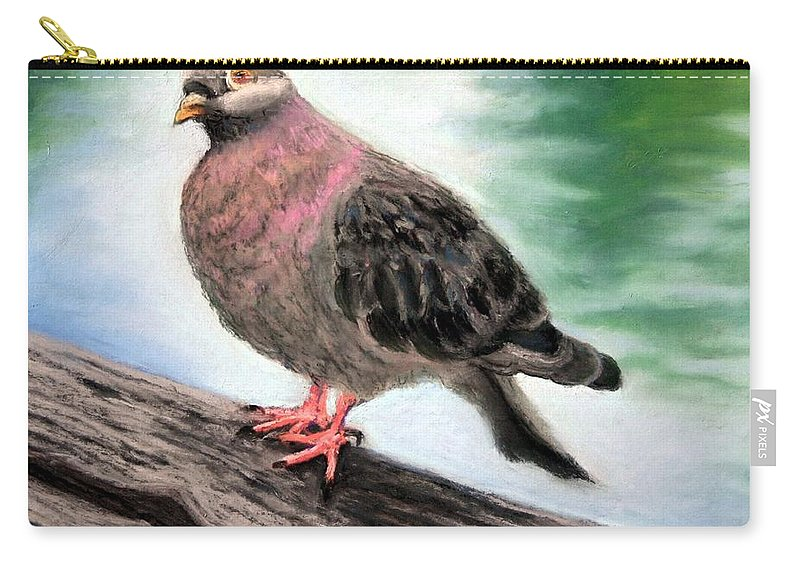 Pigeon Carry-all Pouch featuring the painting Pigeon Toes by Minaz Jantz