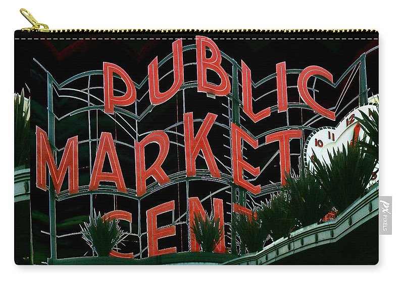 Seattle Carry-all Pouch featuring the digital art Pike Place Market Entrance 5 by Tim Allen
