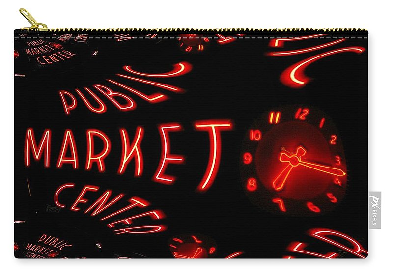 Seattle Carry-all Pouch featuring the digital art Pike Place Market Entrance 6 by Tim Allen