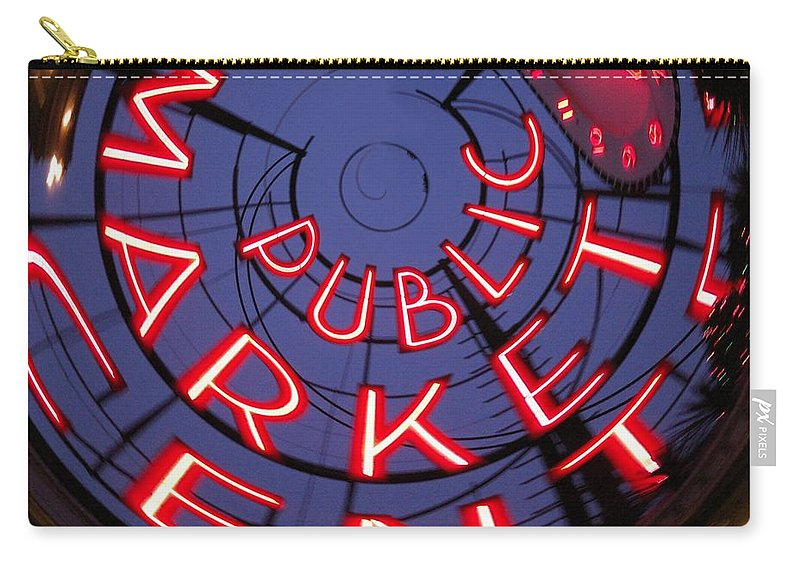 Seattle Carry-all Pouch featuring the photograph Pike Place Market Entrance by Tim Allen