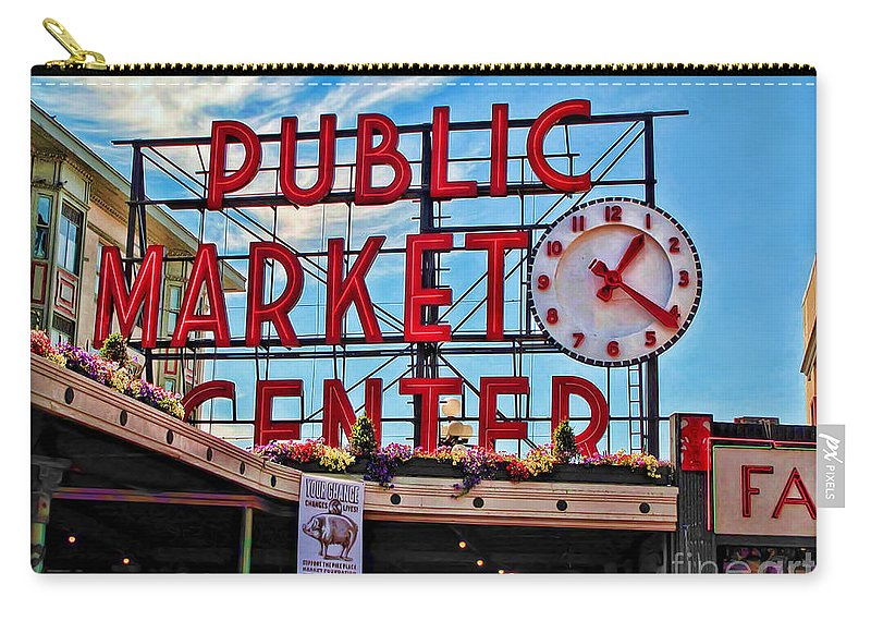 Elliott Bay Carry-all Pouch featuring the photograph Pike Place Market by Joan Minchak