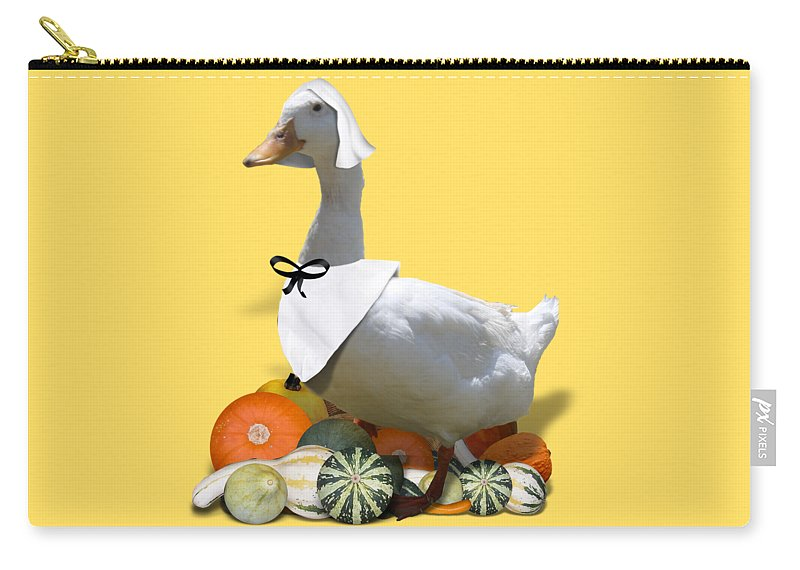 Thanksgiving Carry-all Pouch featuring the mixed media Pilgrim Duck by Gravityx9 Designs