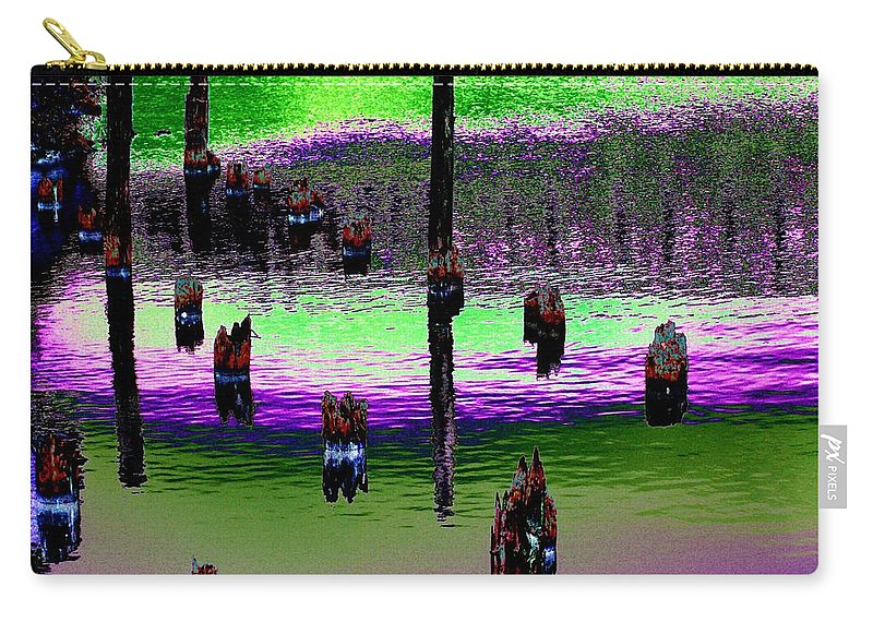 Pilings Carry-all Pouch featuring the photograph Pilings Of The Past by Tim Allen