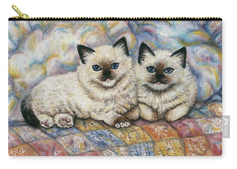 Cat Carry-all Pouch featuring the painting Pillow Mates by Linda Mears