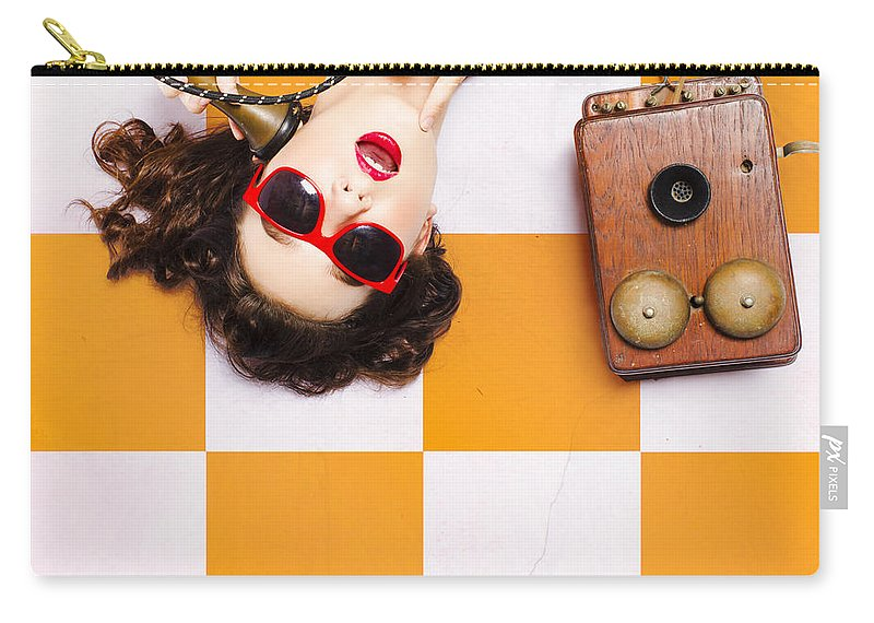 Phone Carry-all Pouch featuring the photograph Pin-up Beauty Decision Making On Old Phone by Jorgo Photography - Wall Art Gallery
