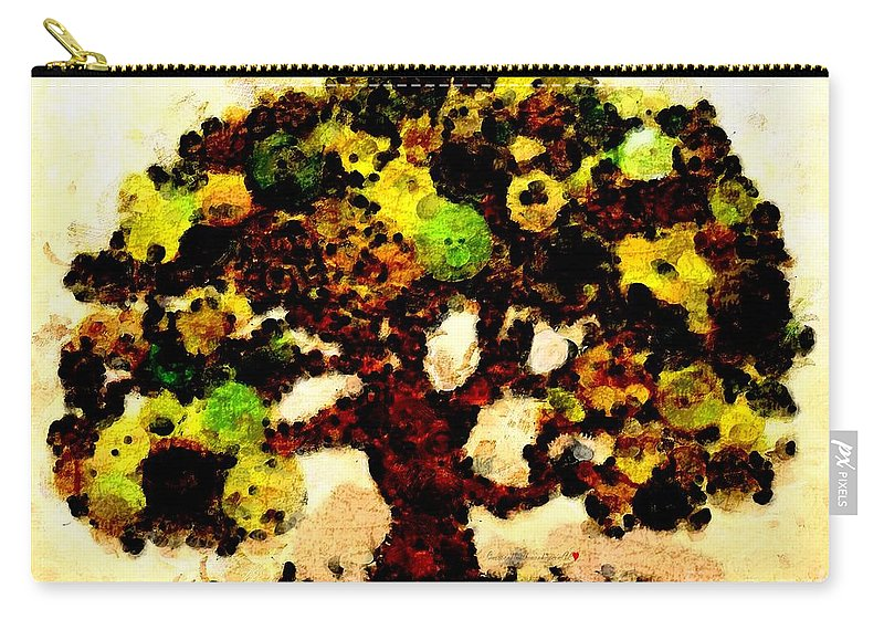 Pinatamiche Tree Painting Carry-all Pouch featuring the painting Pinatamiche Tree Painting In Crackle Paint by Catherine Lott