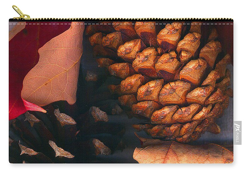 Pine Cones Carry-all Pouch featuring the photograph Pine Cones And Leaves by Nancy Mueller