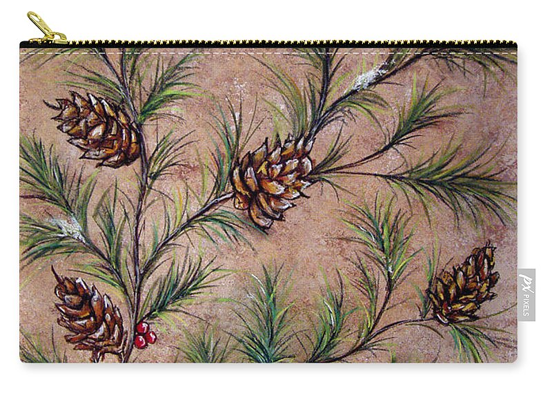 Acrylic Carry-all Pouch featuring the painting Pine Cones And Spruce Branches by Nancy Mueller