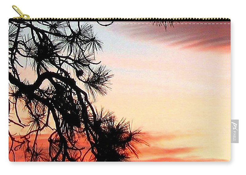 Sunset Carry-all Pouch featuring the photograph Pine Tree Silhouette by Will Borden