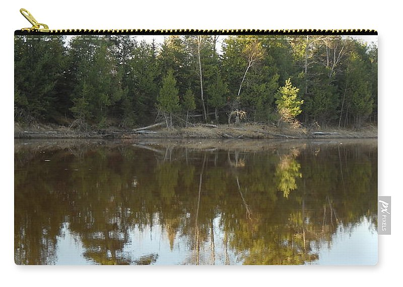 Mississippi River Carry-all Pouch featuring the photograph Pine Trees Across Mississippi River by Kent Lorentzen
