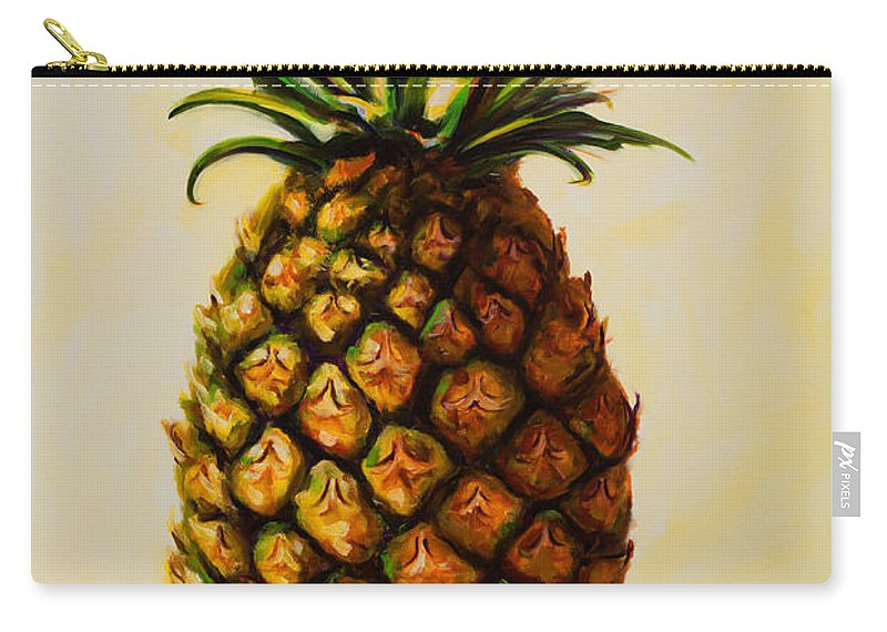 Pineapple Carry-all Pouch featuring the painting Pineapple Angel by Shannon Grissom