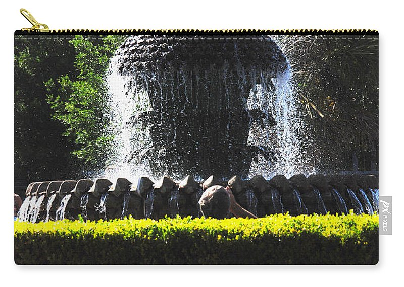 Photography Carry-all Pouch featuring the photograph Pineapple Fountain Charleston Sc by Susanne Van Hulst