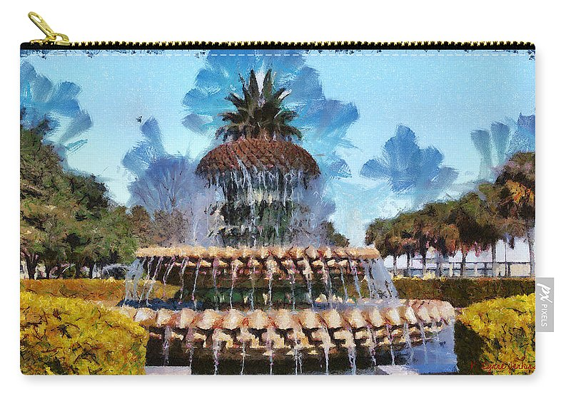 Pineapple Carry-all Pouch featuring the painting Pineapple Fountain by Lynne Jenkins